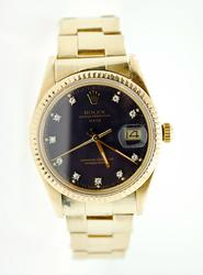 All Original Vintage 18Kt Rolex Date With Diamonds