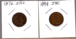 2 Indian Head Cents: 1876 and 1894