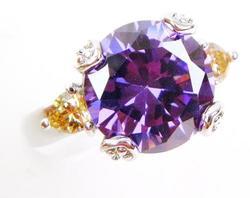 Big Brilliant Purple Gemstone & Padparadscha Sterling R