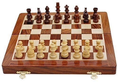 Handmade Magnetic Rosewood Folding Board Chess Set
