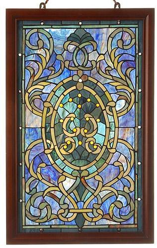 Tiffany-style Boarder Wooden Frame Window Panel