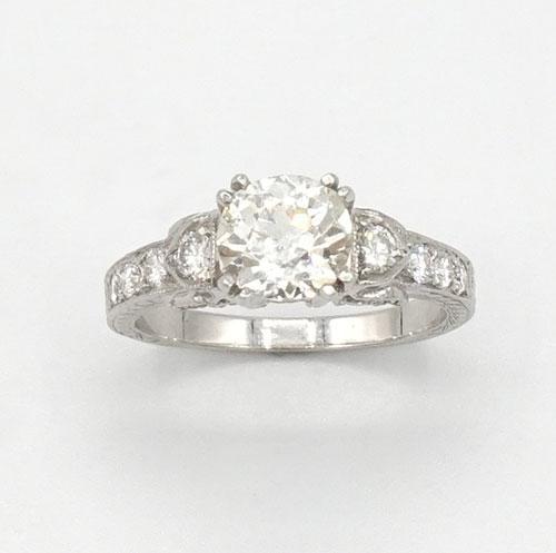 Large 1.5+CTW European Cut Diamond Ring in Platinum