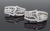 18K White Gold Drop Style Diamond Earrings