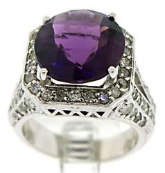 Eyecatching Amethyst and Diamond Ring