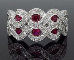 Ruby and Diamond Wave Ring