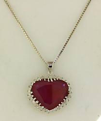Unbelievable Large Ruby Necklace With Diamonds accent