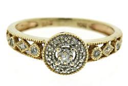 Two Tone Milgrained Filagree Diamond Ring
