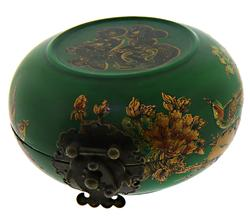 Green Glazed Wooden Crafted Round Jewelry Box