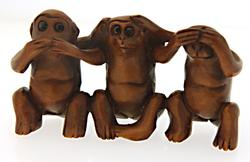 Hand Carved Boxwood Netsuke 3 Monkeys