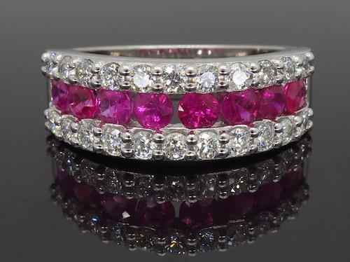 Three Row Ruby and Diamond Ring