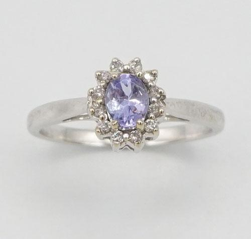 14kt Gold, Tanzanite, & Diamond Halo Ring