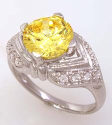 Yellow Crystal Ring in White Gold, Size 7.75