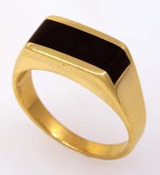 Men's Onyx Ring in Gold, Size 9.25