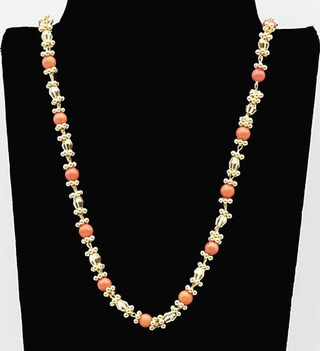22kt Solid Yellow Gold Beaded Chain Necklace,32+ Grams!