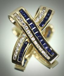Contemporary 14K Sapphire & Diamond Pendant