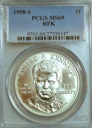 1998-S Robert Kennedy Commem Silver Dollar. PCGS MS69