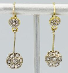 Diamond Dangle Gold Earrings