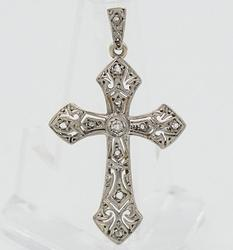 14KT Diamond Filigree Cross Pendant