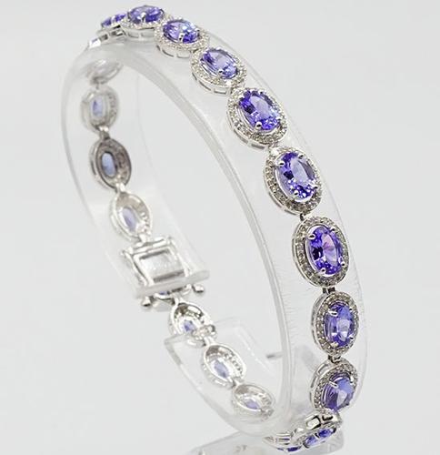 Brilliant Tanzanite and Diamond 14kt White Gold Bracelet