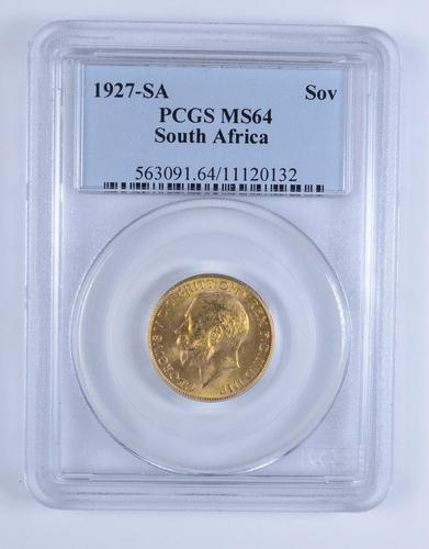 MS64 1927-SA South Africa Gold 1 Sovereign - PCGS Graded