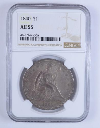 AU55 1840 Seated Liberty Silver Dollar - NGC Graded