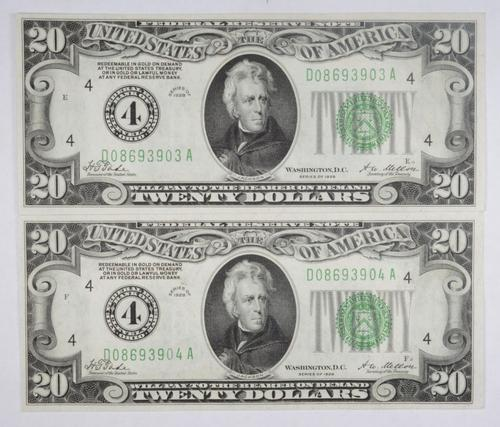 Lot (2) Series 1928 $20 Federal Reserve Note Cleveland - 2 Consecutive
