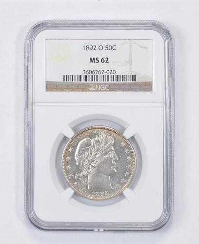 MS62 1892-O Barber Half Dollar - Graded NGC