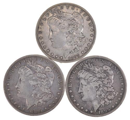 Lot (3) 1895-O Morgan Silver Dollars