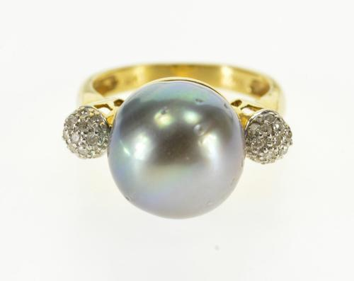 18K Yellow Gold Tahitian Pearl Ball Diamond Cluster Statement Ring