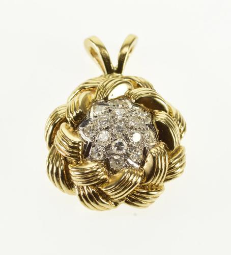 14K Yellow Gold 0.30 Ctw Diamond Encrusted Wavy Woven Cluster Pendant