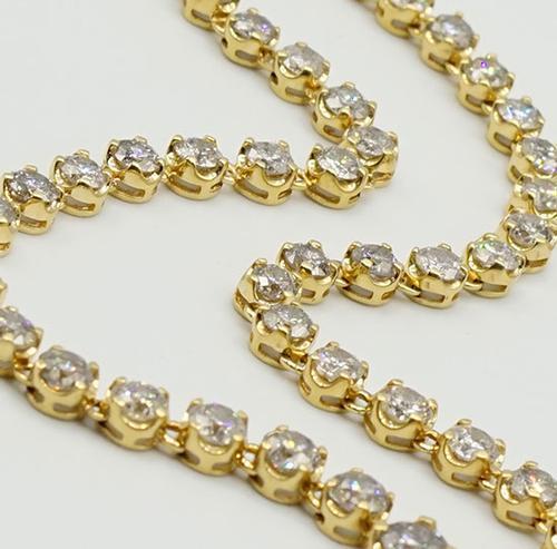 Elegant 14kt Yellow Gold 15.87ctw Diamond Tennis Necklace