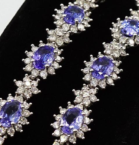 Rare Tanzanite and Diamond 14kt White Gold Necklace