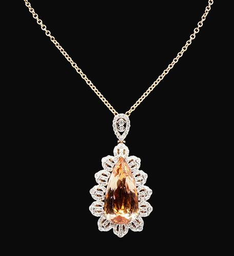 Sophisticated 14kt Rose Gold 22.12ct Morganite and Diamond Pendant Necklace