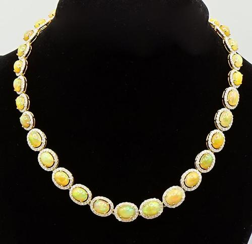 Sumptuous 14kt Yellow Gold Opal and Diamond Necklace