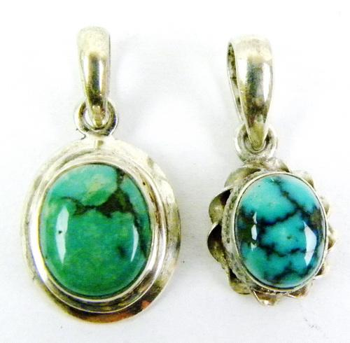 2 Sterling Silver Turquoise Pendants