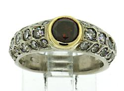 BEautiful Orange Diamond and Single Cut Diamond Ring