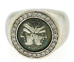 Ancient Silver Coin Diamond Ring