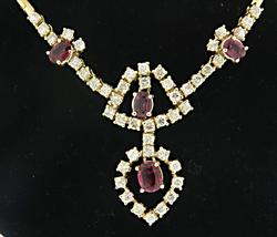 Fancy 14kt Yellow Gold Ruby and Diamond Necklace
