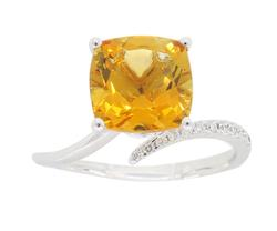 14K White Gold Citrine & Diamond Ring