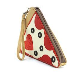 Pepperoni Slice Pizza Wristlet in Vinyl Material