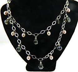 Open Link Pearl and Crystal Necklace
