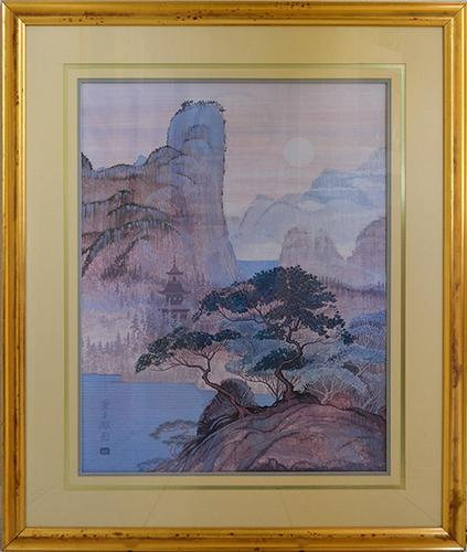 Framed Vintage Fine Art Print of a Japanese Landscape