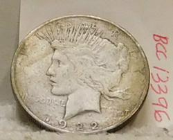 1922-D Peace Dollar, circulated, some toning