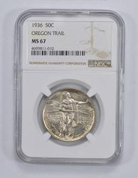 MS67 1936 Oregon Trail Memorial Commemorative Half Dollar - NGC Graded