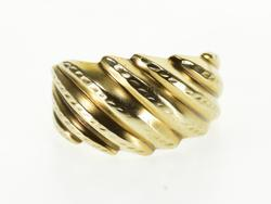 10K Yellow Gold Grooved Scalloped Diagonal Wave Statement Ring