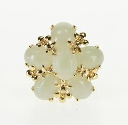 14K Yellow Gold Jade Oval Cabochon Floral Cluster Motif Ring
