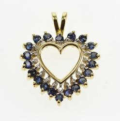 10K Yellow Gold Ornate Sapphire Diamond Encrusted Halo Heart Pendant