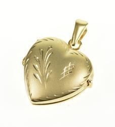14K Yellow Gold Etched Leaf Design Satin Finish Heart Locket Pendant