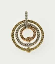 10K White Gold Diamond Encrusted Tier Circle Tri Tone Heart Pendant