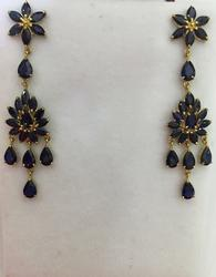 Fancy 13 Carat Blue Sapphire Earrings in 14kt Gold